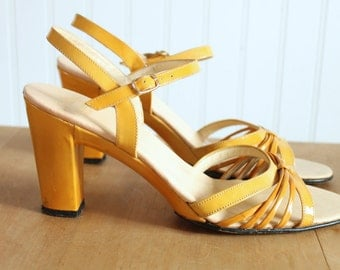 Mustard Yellow Gold Patent Strappy Peep Toe Ankle Strap Sandals 9N