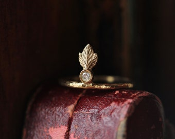 Diamond Engagement Ring, Small Diamond Ring, Feather Ring, Leaf Ring, Delicate Diamond Ring, Stacking Ring, Wedding Band, Hammered Ring.