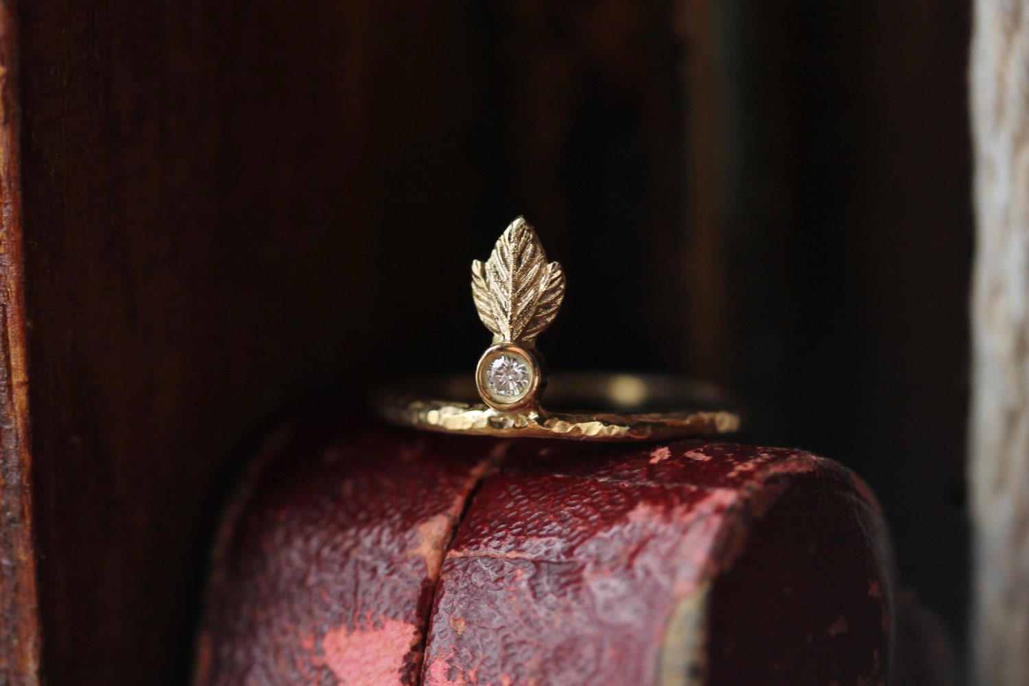 Diamond Engagement Ring Small Diamond Ring Feather Ring
