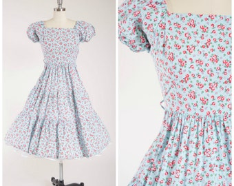 Vintage 1950s Dress • Field Dance • Floral Print Blue Cotton 50s Peasant Dress with Flounced Skirt Size Medium