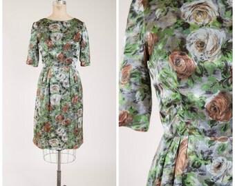 Vintage 1950s Dress • Change This Love • Green Brown Satin Floral 50s Sheath Dress Size Medium