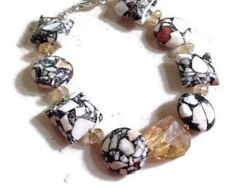 Yellow Citrine Bracelet - Mosaic Jasper Jewelry - Sterling Silver Jewellery - Gemstone - Fashion - Beaded - Mod