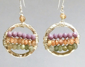 Purple Chalcedony, Orange Sunstone, and Green Cats Eye Gemstones on Hammered Sterling Silver Circle Earrings