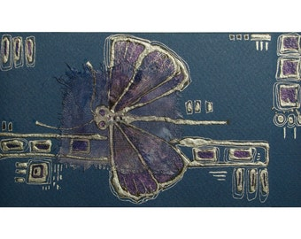 Dark blue dragonfly - handmade blank greeting card for any occasion original painting silver deep blue navy royal blue mixed media art OOAK