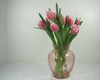 Vintage PINK FLOWER VASE Cranberry Illusion Swirl Indiana Glass Floral