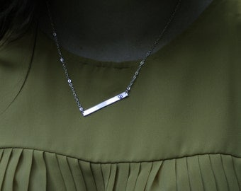 Trending Bar Necklace, Personalized Bar Necklace, Sterling Silver Bar Necklace, Silver Personalized Necklace, Initial Necklace