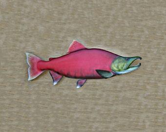 SOCKEYE SALMON wood carving 30'', fishing decor, fishing art, fly fishing, fish art, gift for sportsman
