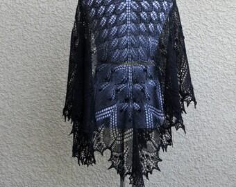 Black knit shawl, wedding shawl, bridesmaids shawl, hand knit shawl, black lace shawl, merino wool tencel gift for her