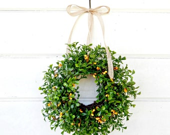 MINI Boxwood Wreath-Window Wreath-Country Cottage Wreath-Boxwood Wreath-Yellow Wreath-Gift for Mom-Wall Hanging-Small Wreath-Scented Wreaths