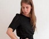 Stripe silk top in black and gray silk crepe – simple silk top with half sleeve and round neckline – Handmade top by La petite nina