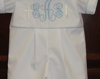 Baby Boy Baptism Romper Christening Romper Blessing Outfit Baby Dedication Blessing Monogram Initials Cross