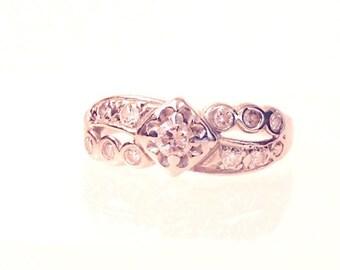 Vintage Diamond Band Ring, .45 Carats, 14K White Gold