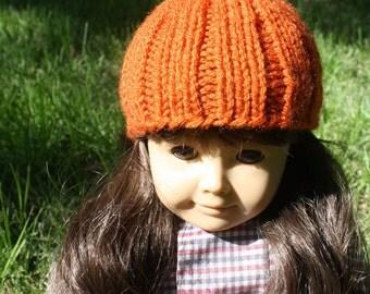"American Girl Pumpkin Hat - 18"" Knit Doll Hat - Ready to Ship!"