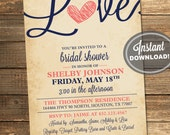 Rustic Bridal Shower Invitation, Love, Birds, Heart, Navy Blue, Coral, Printable File Instant Download #IDS1018