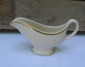 Shenango China Beige Creamer, Vintage Small Gravy Boat, Made in USA, Ceramic Creamer or Pitcher, Gold Trimmed Creamer