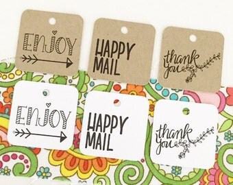 Handrawn Happy Mail Tags - Custom Thank You Tags - Happy Mail Packaging - Party Favor Tags - Gift Wrap & Packaging Supplies