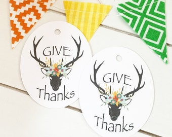 Give Thanks Gift Tags / Party Favor Tags / Fall Gift Tags / Thanksgiving Tags / Hang Tags / Product Packaging / Deer Gift Tags