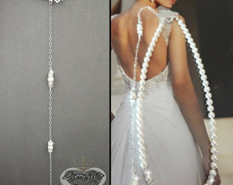 Pearl necklace ~ Back drop ~ Brides necklace ~ Backdrop pearl necklace ~ Wedding necklace ~ Swarovski pearls and crystals ~ Wedding jewelry