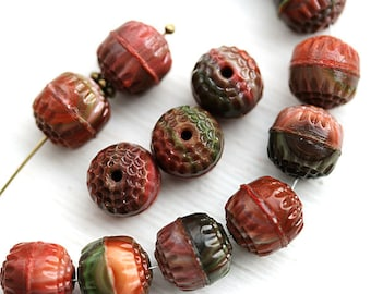 10mm Cathedral beads in Brown earthy colors, round fire polished ball beads - 10Pc - 0702