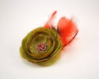 Olive Green Ranunculus Hair Fascinator, Green and black guinea feather, red feathers, red faux crystal center, lace accents, Christmas