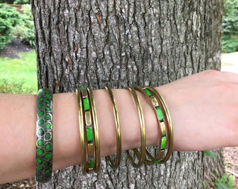 Vintage 70's Bohemian Bangle Braclets in Green & Brass / Lot of 8 Bracelets / Spring Jewelry