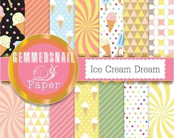 Ice cream digital paper 'Ice cream dream' geometric patterns 14 vintage ice cream backgrounds delicious!