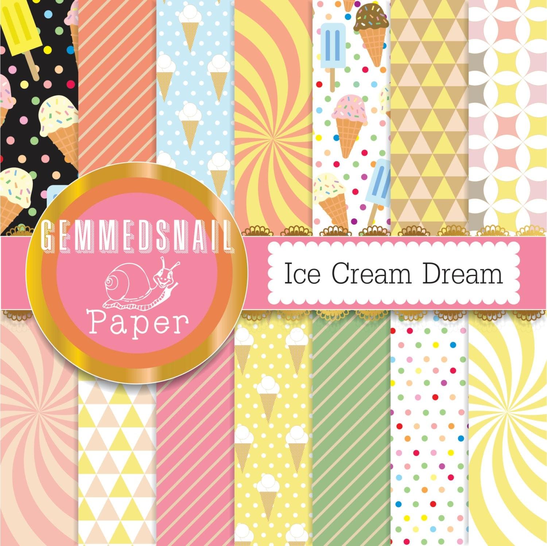 Ice Cream Cone Wallpaper: Ice Cream Digital Paper 'Ice Cream Dream' Geometric