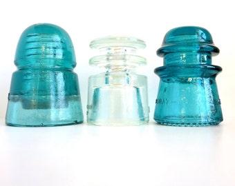 Antique Aqua Insulators, Set of 3 Hemingray Glass Telegraph Insulators