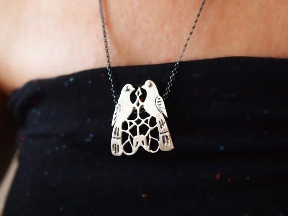 Bird Necklace - Love Birds / Two Birds Pendant - Bird Lovers - Artisan Designer Sterling Silver - with Silver Chain