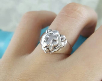 Lion Ring in Sterling Silver, silver lion head ring, lion ring silver, silver Leo ring, Leo zodiac ring, zodiac Leo ring, silver zodiac ring