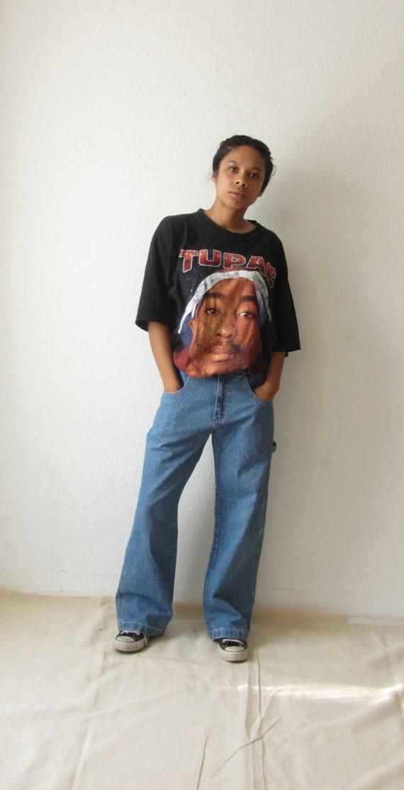 90s carpenter jeans Vintage wide leg boot cut jeans Low rise