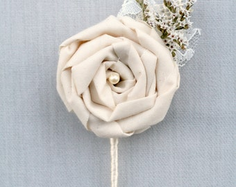 Ivory Fabric Rosette Flower, Dried Flower Boutonniere, Lace & Burlap Wedding, Groom, Groomsmen, Bridal Corsage, Buttonhole, The Sunny Bee