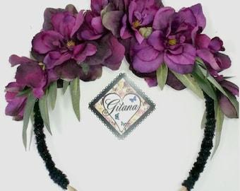 Unicorn Headband-Gothic Headband-Gothic-Lolita Headband- Mori Kei-Purple-Black-Headwear-Flower Headband-Unicorn Horn-Purple-Flower Crown