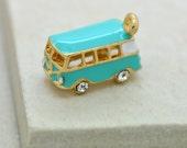 Enamel Volkswagen Van Charm Aqua Hand Painted Enamel 24K Gold Plated Brass Crystal Rhinestone Pendant Vintage Jewelry Supplies (AS062)