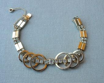 Vintage Mid Century Modern Bracelet - Gold Rhinestone Circles Bracelet - 1950s Costume Jewelry