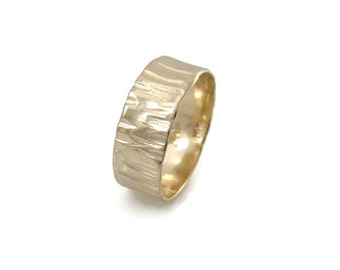 Textured wedding ring. medium width wedding band- 14k yellow gold ring . hes and hers wedding band, matte wedding ring(gr9422-1507)