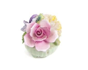Vintage Radnor Bouquet Sculpture Mint Green Pot England Bone China Staffordshire Floral Figurine Porcelain Flowers Pink Yellow Lavender