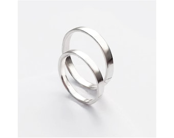 loto - sterling silver wedding band set // minimalist wedding bands