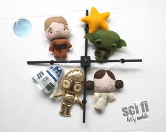 BABY MOBILE, star wars, Princess Leia, Han Solo, R2D2, C-3PO, Luke Skywalker, Chewbacca C3PO BB, yoda