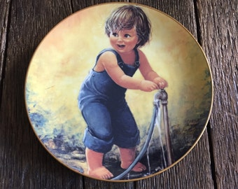 "ON SALE - Signed Sue Etem Collectors Porcelain  Plate -  Playful Memories ""Randy"" From an Original Painting by Sue Etem Hackett American"