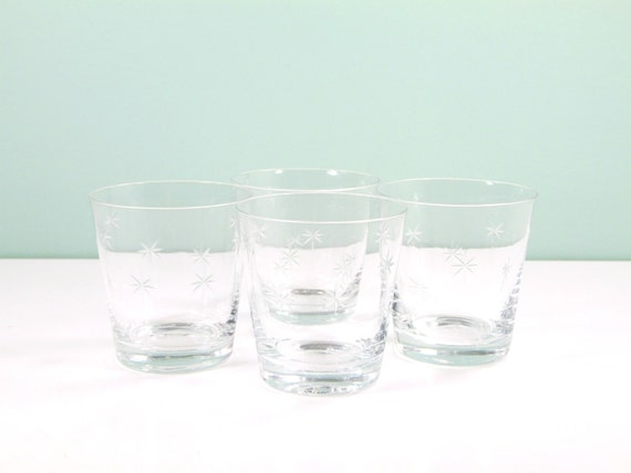 Mid century starburst glasses crystal double old fashioned - Starburst glassware ...
