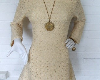 Late 1960's Cream Virgin Wool A Line Mini Dress- By Dalton - Folk-Boho