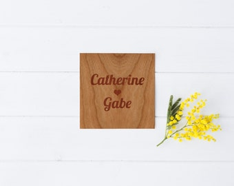 Wood Trivet: Custom Text With Your Name or Phrase - 6x6 inches - SHIPS FREE