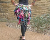 Boho floral tatter bustle. Flower over skirt tribal belly dance costume, burlesque, festival, pixie cosplay. Eco repurposed free size wear