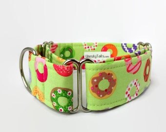 Lime Donuts Dog Collar - Martingale Collar or Side Release Buckle Collar -  Colorful Doughnuts on Light Green RARE*