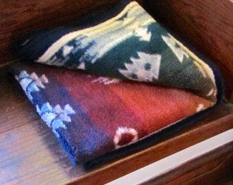 Vintage Fleece Blanket, Native American Design, by Biederlack, Germany, Lodge or Cabin Decor, Camp Blanket, Multi Colors