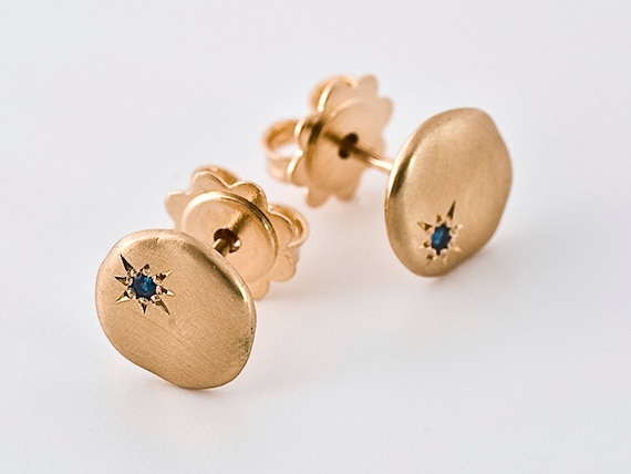 Sapphire Rose Gold Earrings | Solid gold 18k earring, Cloud, tiny sapphire star smooth earring, blue saphire stud 14k gold