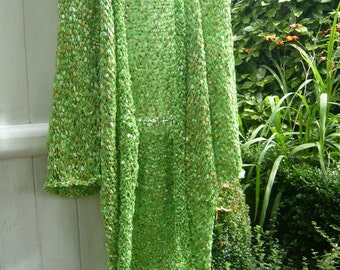 Handknit green coat jacket kimono vest fairy luminous  fresh green duckweed sunny chlorophyl inspired by nature Saint Patrick gift OOAK
