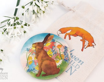 Hare Fabric Pocket Mirror, Cosmetic Mirror, Makeup Mirror, Gifts for Women, Fabric Covered Mirror