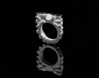 Labyrinth | Partially Polished Hand Carved Sterling Silver Ring